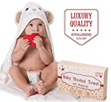 Baby Hooded Towel — Hypoallergenic Thick X-Large Ultra Soft Bamboo Baby Bath Towel — Bonus: Washcloth and Greeting Card