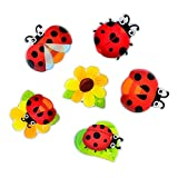 Morcart Refrigerator Magnets Ladybug Magnets 6-Sets Decoration for Lock Cabinet Office Supplies Student Locker Coffee Shop Menu Message Board
