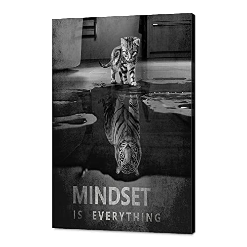 """Mindset is Everything Inspirational Positive Quotes Motivational Canvas Office Wall Art Poster Print Artwork Painting Picture for Living Room Bedroom Office Home Decor Framed Ready to Hang-12""""Wx18""""H"""