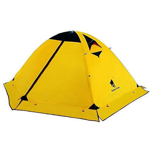 GEERTOP Zelt Kuppelzelt Campingzelt Familienzelt Trekkingzelt Aluminiumstangen Wasserdichten - 140 x 210 x 115 cm (2,59kg) - Zwei Personen 4 Jahreszeiten Ideal für Camping Wandern Reisen und Klettern (Gelb)