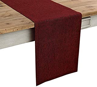 Solino Home 100% Pure Linen Table Runner – 14 x 108 Inch Athena, Handcrafted from European Flax, Natural Fabric Runner – Red Garnet