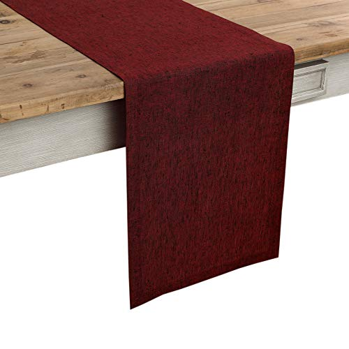 Solino Home 100% Pure Linen Table Runner – 14 x 72 Inch Athena, Handcrafted from European Flax, Natural Fabric Runner – Red Garnet
