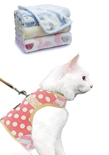 Cat Harness Polka Dot Pink Large and Cat Soft Blankets 1Pakc of 3