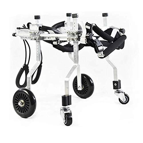 VERDELZ Silla de ruedas ajustable de aleación de aluminio de 4 ruedas silla de ruedas de entrenamiento de rehabilitación de piernas,adecuado para mascotas de 2 a 6 kg discapacitados y débiles