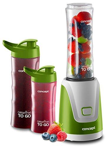 CONCEPT Hausgeräte SM 3365 SM3365 Maker Smoothie to GO mit DREI Flaschen, 300 W, 2X 600 1x 400 ml, BPA-frei, Plastik, Grün