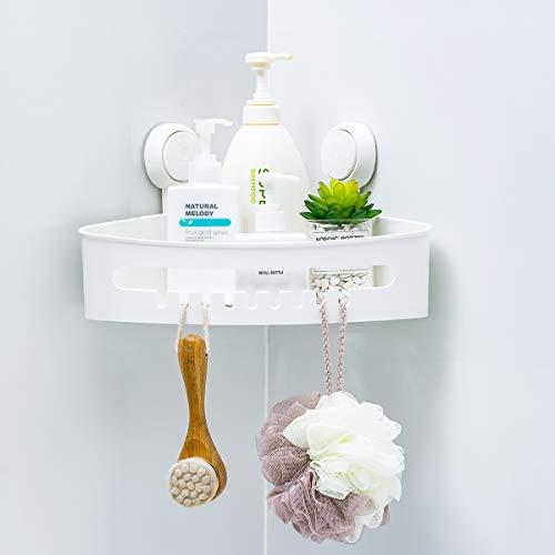 Corner Shower Caddy Suction Cup No Drilling Shower Corner Shelf Removable Super Load-Bearing 22lbs Bathtub Corner Shelf Waterproof Wall Mounted Caddy Organizer for Bathroom, Shower, Kitchen - White