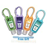 Empty hand sanitizer bottles Empty Travel Size Bottles with keychain Liquid Hand Soap Refillable Containers Transparent Leak Proof Squeeze Tubes without Liquid(4PACK)