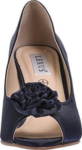Lexux Damskie buty na wysokim obcasie z odkrytymi palcami wysokie obcasy szpilki ślubne na przyjęcie studniowe buty z kwiatowym wykończeniem z przodu, - granatowy - 36 EU