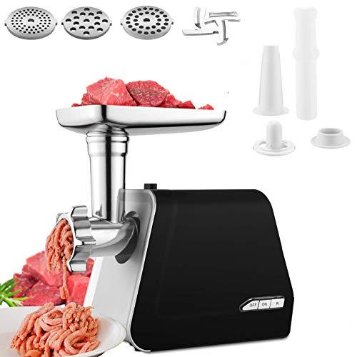 Picadora de Carne Eléctrica,Max 2000W Picadora de Carne Profesional, Máquina Picadoras de Carne con 3 Placas de Molienda, Embutidora de Salchichas, Acero Inoxidable, Función Inversa,Negro