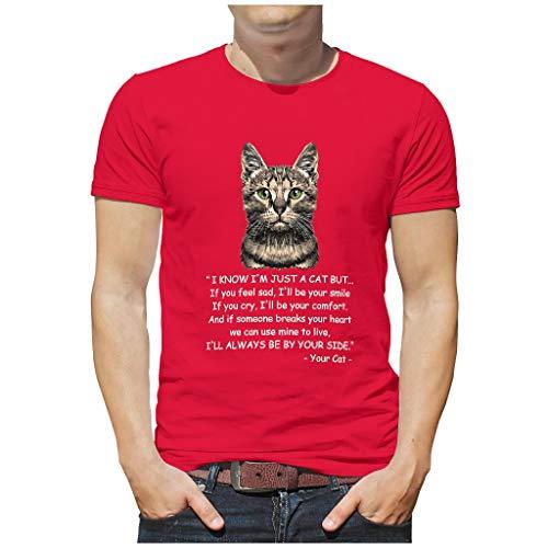 Cat Smile Comfort 3D Druckten Herren T-ShirtsBaumwolle Tee Slim Fit T-Shirt HerrenT-Stücke red1 2XL