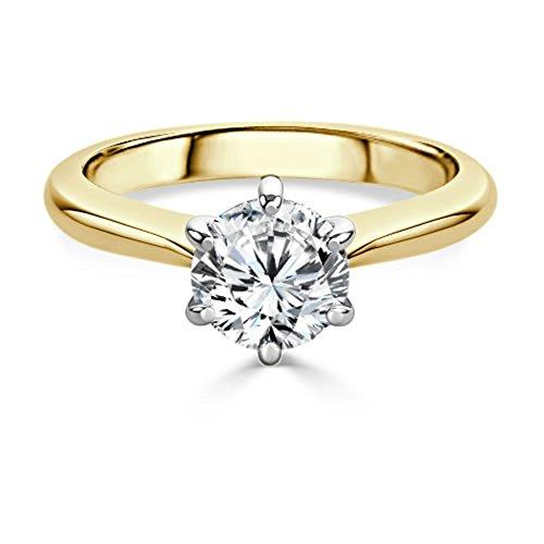 2.00 Ct Round Cut Diamond Engagement Wedding Ring 18K Solid Yellow Gold Size I J K L M N O P Q R