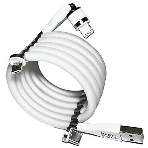 [Magic Cable 540] 正規品 0.9m 白 マジックケーブル 充電器 iPhone USB充電ケーブル マグネットケーブル マグネット式 充電ケーブル TYPE C B lightning ライトニング 3.0 ケーブル 0.9m 白