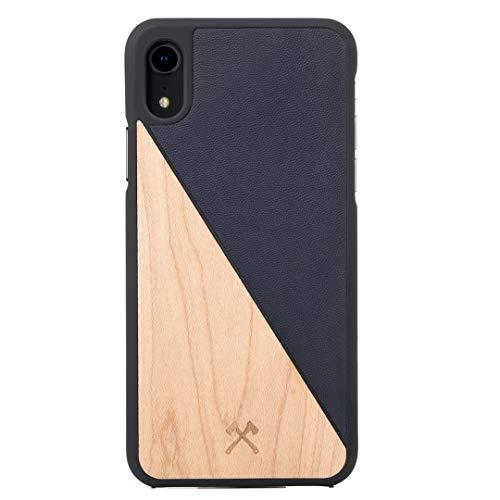 Woodcessories – Carcasa, Funda Compatible con iPhone XR, de Madera Real, EcoCase Split (Arce/Azul)