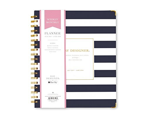 "Day Designer for Blue Sky 2017-2018 Academic Year Weekly & Monthly Planner, Wire-O Binding, 8"" x 10"", Navy Stripe Hardcover"
