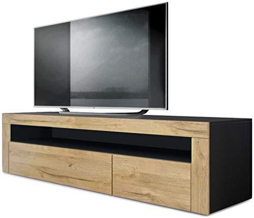 Vladon TV Board Lowboard Valencia, Korpus in Schwarz matt/Front in Eiche Natur mit Rahmen in Eiche Natur