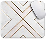 Oriday Gaming Mouse Pad Custom, Modern Gold Cross Line Design for Women Non-Slip Rubber Thick Mouse Pad for Computers Laptop (Chic White)