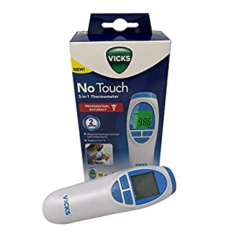 Vicks No Touch 3-in-1 Thermometer,Measures Forehead,Food and Bath temperatures