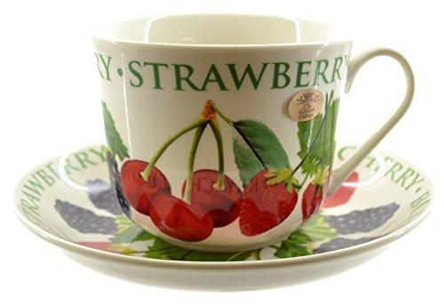 & Lesser Pavey-Tazza In porcellana Fine, con motivo 'Frutta, mele & piattino In confezione regalo