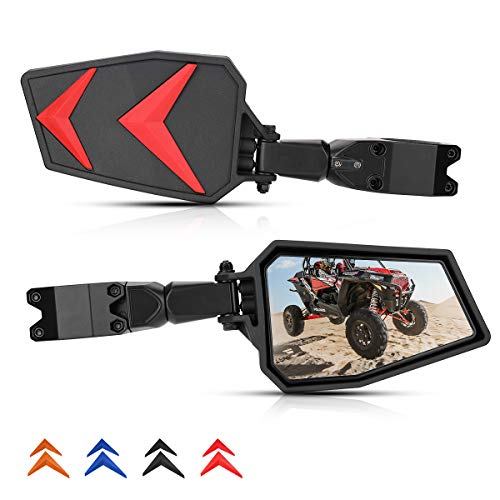 """UTV Side Mirrors RZR Side Mirrors Rear View 1.75""""-2'' Roll Bar Compatible with 2008 09 10 11 12 13 14 15 16 17 18 19 20 21 Polaris RZR 800 900 1000 XP Turbo w/Black Orange Blue Red Inserts"""