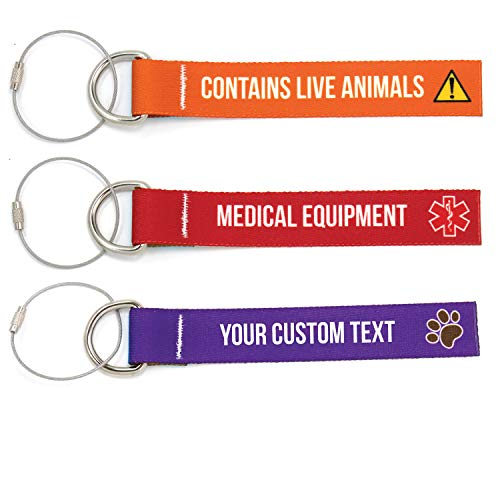Buttonsmith Custom Luggage Tags - Set of 3 - Customize With Your Text - Designed, Printed, and Assembled in USA