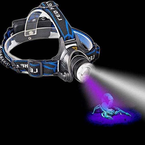 Reeseiy Kopflampe Stirnlampe Tragbare Dual-Leds Zoom Chic White + Uv-Licht-Scheinwerfer-Batterie Blacklight Powered Sale Beleuchtung Täglich Gebrauch Produkt (Color : Colour-Size)