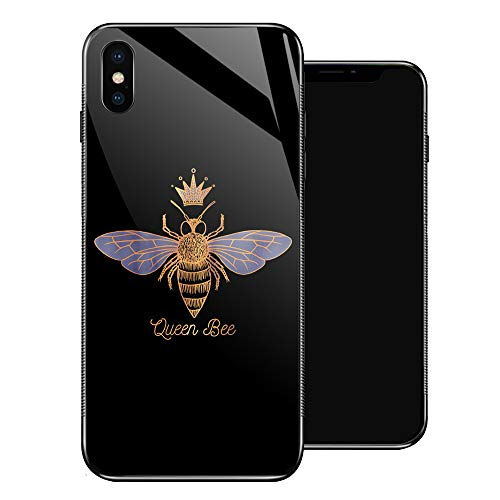 iPhone XR Case,Queen Bee iPhone XR Cases for Girls,Tempered Glass Pattern Design Back Cover [Shock Absorption] Soft TPU Bumper Frame Support Case for iPhone XR Golden Crown Honey