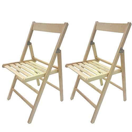 2 sedie Pieghevole Sedia birreria in Legno Naturale richiudibile