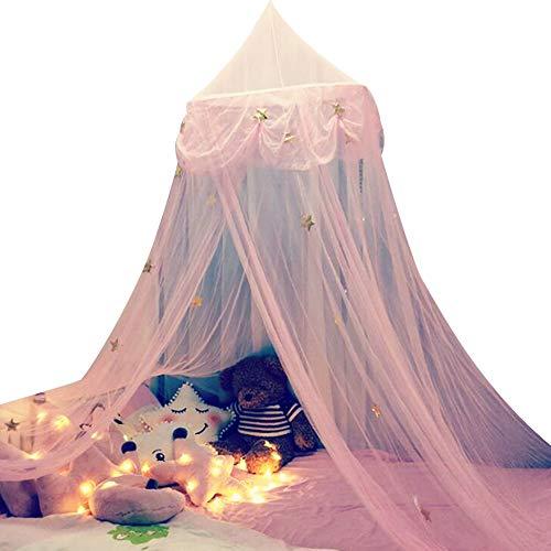 FOReverweihuajz Gwiazda motyl wzór tiul łóżko dziecięce kopuła baldachim zasłona wisząca moskitiera namiot sypialnia dekoracja różowy + gwiazda