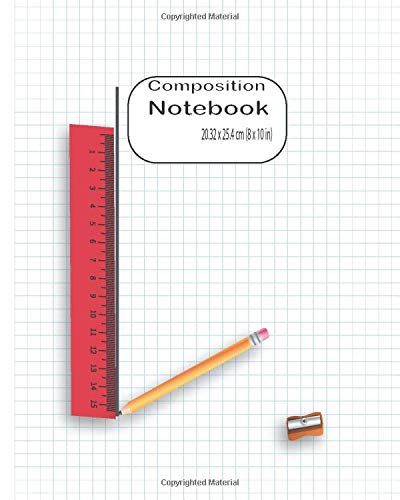 Graph Paper Composition Notebook: notebook for students, Quad paper four boxes for drawing, writing notes. size 8 x 10 in