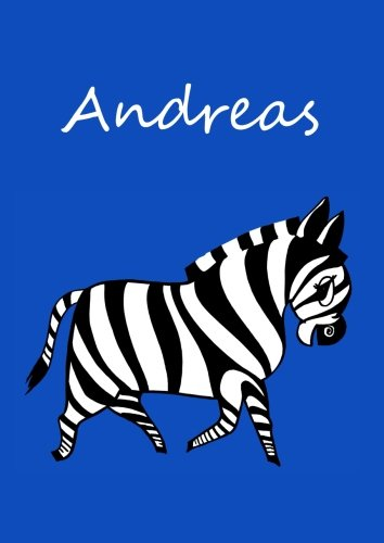 personalisiertes Malbuch / Notizbuch / Tagebuch - Andreas: Zebra - A4 - blanko
