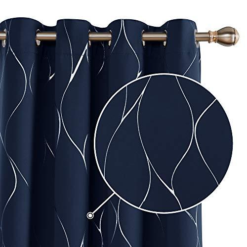 Deconovo Tende Oscuranti Termiche Isolanti Stampate con Occhielli per Soggiorno 117x138cm Blu Navy 2 Pannelli