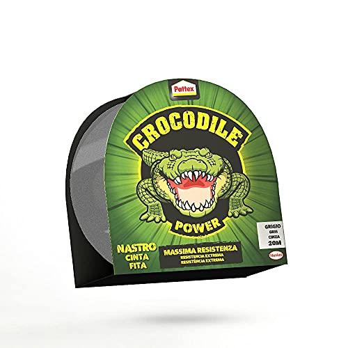 Pattex Crocodile Power Cinta, cinta americana fuerte de doble grosor, cinta adhesiva con fuerte poder de pegado, cinta aislante para múltiples materiales, gris, 1x30m