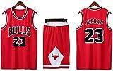 Adultos Y Niños Michael Jordan Retro Basketball Jersey, Deportiva para Estudi Equipo De Competición Kits De Ropa Chicago Bulls 23# Swingman Basketball Uniform Suit(Size:/M,Color:G2)