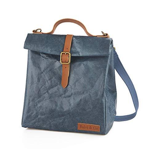 Balvi Bolsa térmica Fresh Color Azul con asa y Cinta Regulable para Transportar la Fiambrera, táper y Alimentos Tyvek 25x23x15