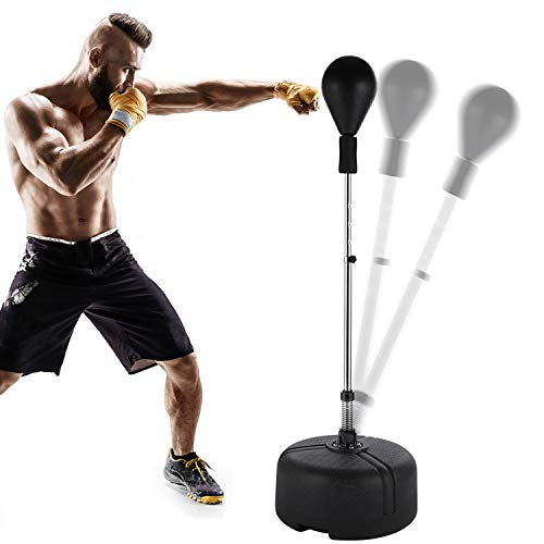 riklos Boxing Bag Speed Punching Bag Free Standing Reflex Bag with Adjustable Height Stress Relief Fitness Strong Durable for Kids Teenagers Adults Home Gym (Black)
