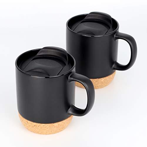A|M|I|N|A Kaffeetassen Set Arabica (2 x 440ml) - Kaffee-Becher aus Keramik mit Korkboden und Deckel