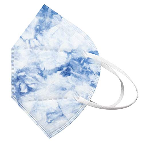 Koippimel Disposable Face_Mask for Adults Women_Masks, Tie-Dye 5-Ply Non-Woven Mask, 10PCS