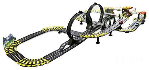 YYQIANG Juguete de carril eléctrico para niños 11.6m Pista Racing Boy Tren Tren Slot Vehículo de automóvil Conjuntos de carreras de vehículos de vía grande Montaje de rompecabezas Garaje Juguete Boy C