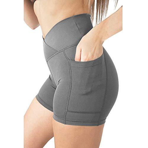Pantalones Cortos de Color Sólido con Bolsillos Shorts Deportivos Modas Leggins de Levante los Cadera Mallas Transpirables Elásticos Pantalón de Yoga para Correr Fitness Estiramiento
