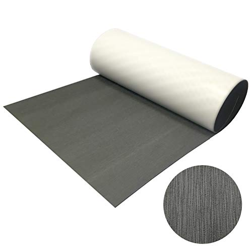 "CHURERSHINING EVA Foam Decking Sheet for Boat Yacht Marine Floor Carpet with Self Adhesive Non-Slippery 94.5""×47.2"" Solid Color (Dark Gray)"