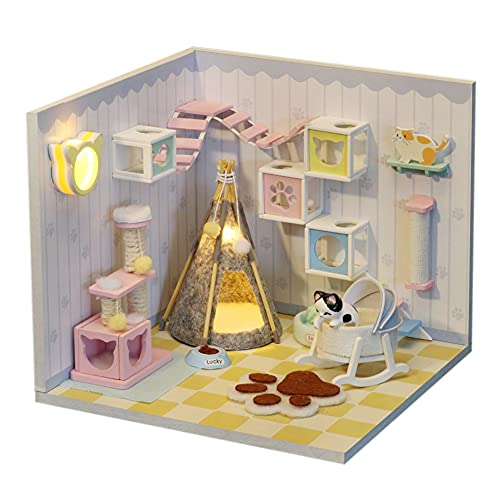 WYD DIY Dollhouse Miniature Kit with Furniture and Dust Cover Wooden Mini Dollhouse Kit (Pet Room) Best for Children and Adults