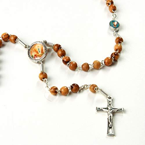 KASSIS Olivenholz Rosenkranz Mutter Gottes & kniende Nonne 39 cm - hergestellt in Bethlehem