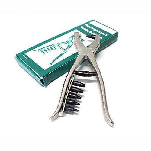 Pinza fustellatrice forgiata per forare cinture, pellami e altri tipi di tessuti.