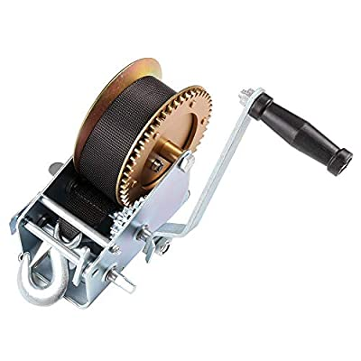 cciyu Hand Manual Winches,3200 LBs Heavy Duty Hand Crank Strap Gear Winch for ATV Jet Ski Trailer Boat