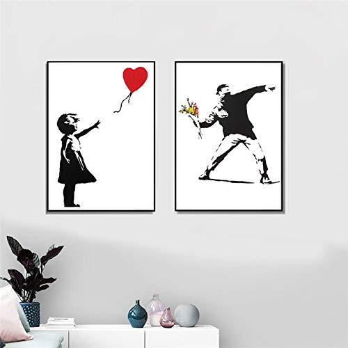 Banksy - Lienzo decorativo para pared, diseño de niña con globo rojo, color blanco y negro, 60 x 80 cm, 2 unidades sin marco