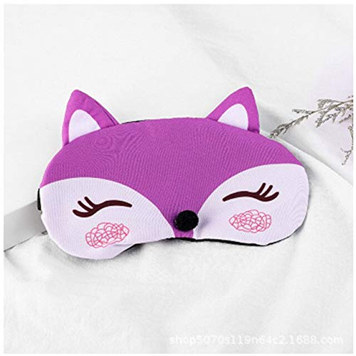 Cute Travel Eyepatc Soft Blindfold Fox 3D Sleep Mask Natural Sleeping Eye Mask Eyeshade Cover Eye Patch For Women Men Purple