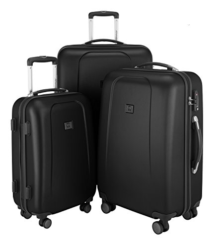 HAUPTSTADTKOFFER - Wedding - 3er Koffer-Set Trolley-Set Rollkoffer Reisekoffer, TSA, Doppelrollen, (S, M & L), Schwarz