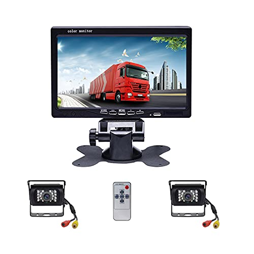 Camecho DC 12V 24V Vehicle Backup Camera System 2 x Rear View Camera Support Night Vision Waterpoof...