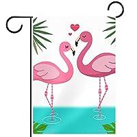 春夏両面フローラルガーデンフラッグウェルカムガーデンフラッグ(12x18inch)庭の装飾のため,恋にフラミンゴ