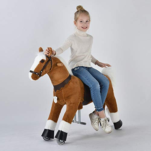 UFREE Horse Best Birthday Present for Girls. Action Pony Toy. Rocking horse. Large 36'' for Children 4 Years Old to 9 years old, Amazing Birthday Surprise.White mane and tail.